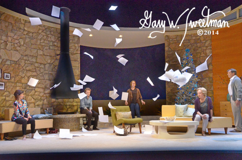 Lucy Lavely tosses the manuscript in Asolo Rep's 2014 Production of Other Desert Cities