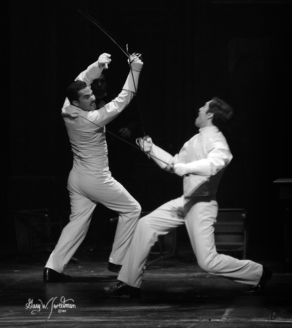 Andhy Mendez as Laertes fights with Frankie J. Alvarez as Hamlet, Prince of Cuba in Asolo Rep's 2012 Production