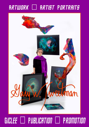 Henie Lorant artist with flying scarves and artwork