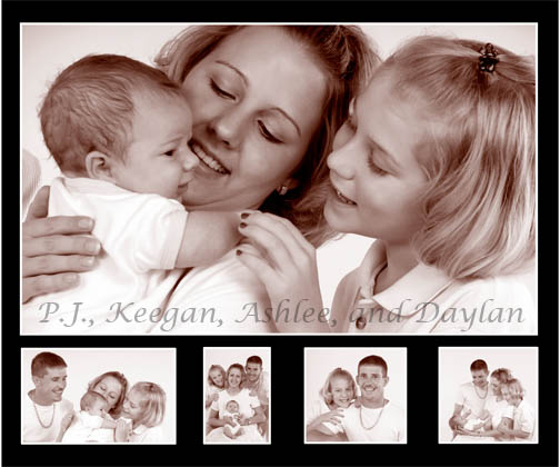 Sepia and White Digital Composite of Family