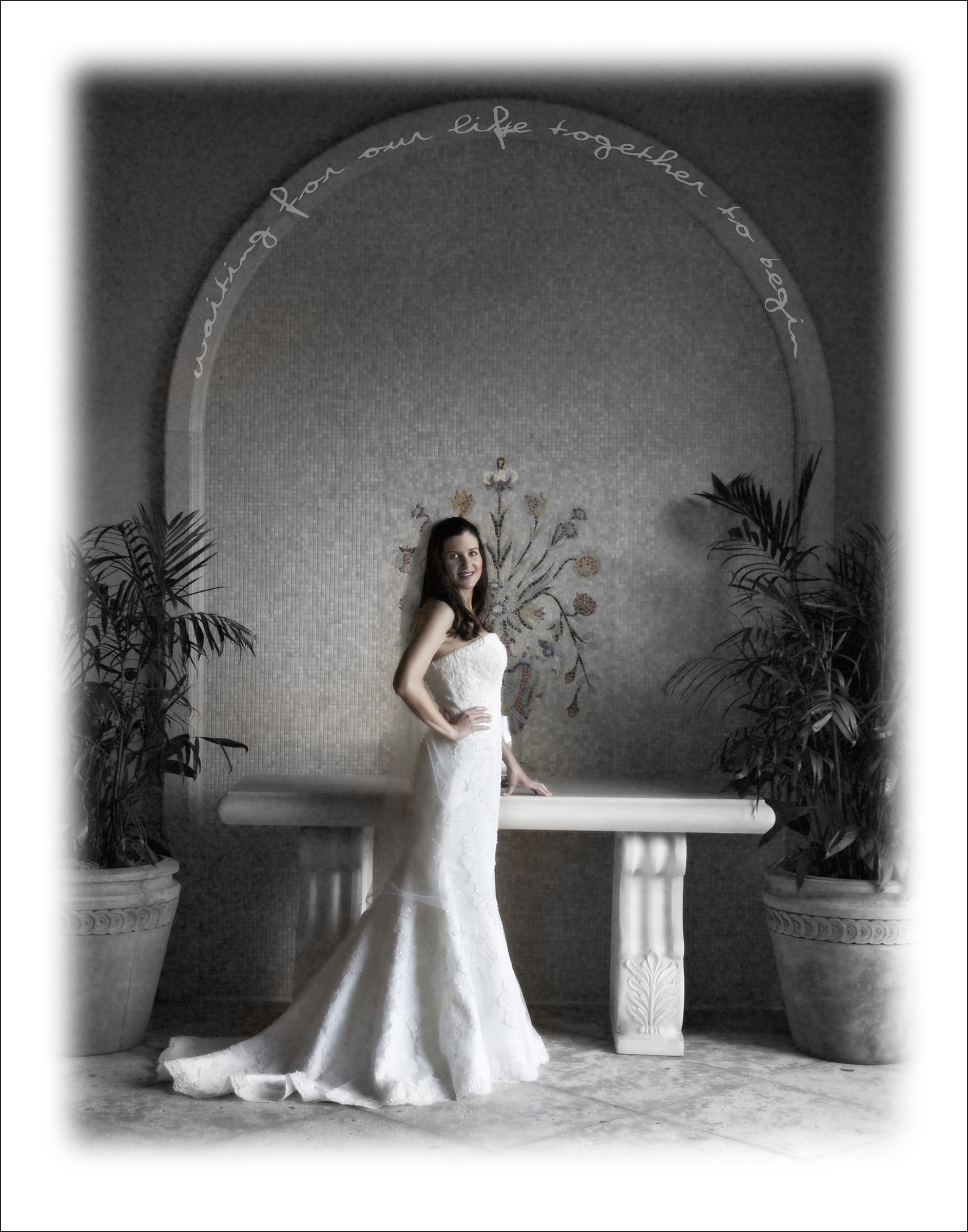 recommended photographer for Longboat key and Sarasota, The Oaks Ritz Carlton Bride Sarasota Black and White Bridal Portriat.