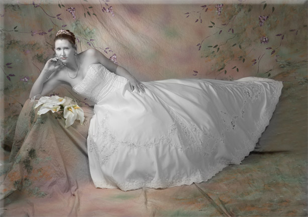 hand tinted bridal portrait black and white avant garde